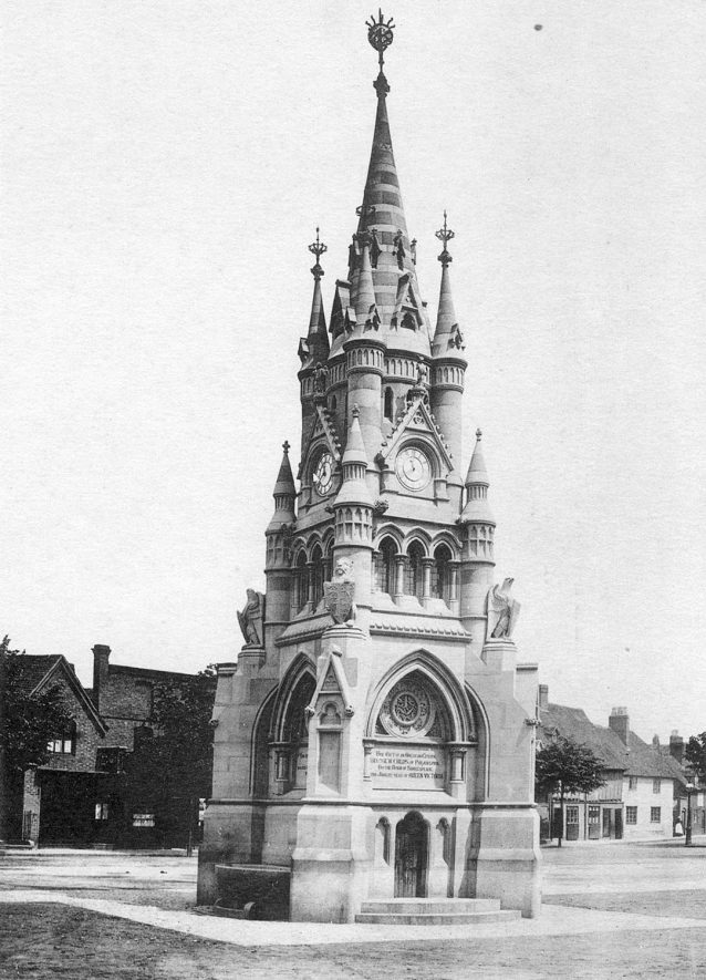 Memorial Fountain, Rother Street, Stratford upon Avon.  1900s. |  IMAGE LOCATION: (Warwickshire County Record Office)