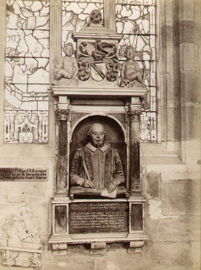 Part of the interior of Holy Trinity Parish Church, Stratford upon Avon, showing the Shakespeare Monument.  1890s. |  IMAGE LOCATION: (Warwickshire County Record Office)