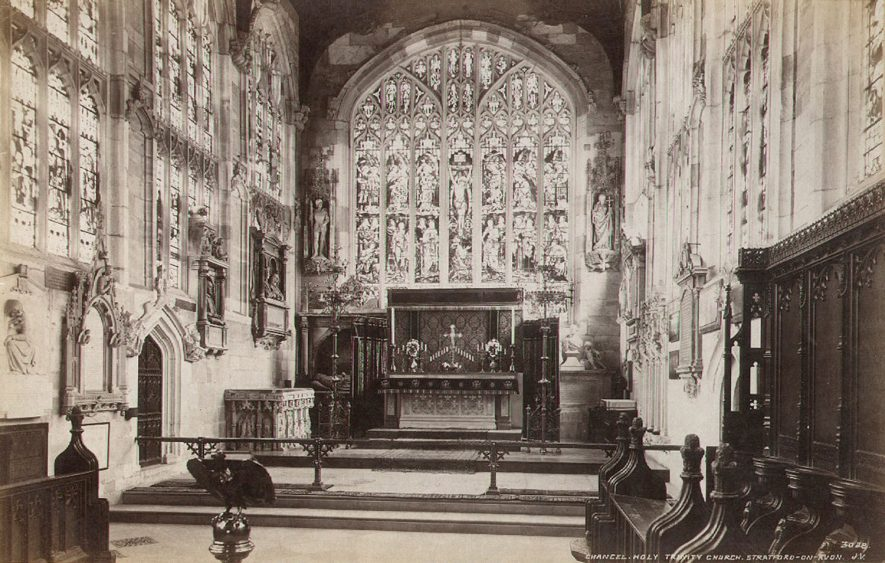 Holy Trinity church chancel, looking east, Stratford upon Avon.  1890s |  IMAGE LOCATION: (Warwickshire County Record Office)
