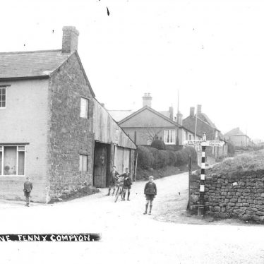 Fenny Compton.  Village street and the butcher's shop