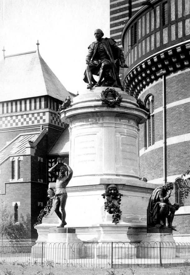 The Shakespeare memorial statue outside the Old Memorial theatre, Stratford upon Avon. c.1880 |  IMAGE LOCATION: (Warwickshire County Record Office)