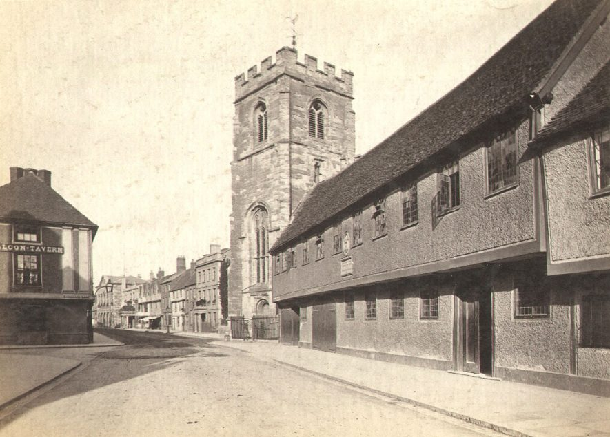 The Guild Chapel and almshouses, Church Street, Stratford upon Avon.  1900s |  IMAGE LOCATION: (Warwickshire County Record Office)