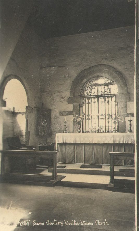 Wootton Wawen parish church interior, east end.  1900s. |  IMAGE LOCATION: (Warwickshire County Record Office)