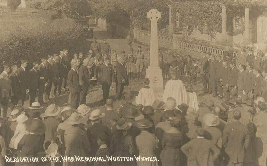 Dedication of 1914-18 war memorial, Wootton Wawen.  1918.