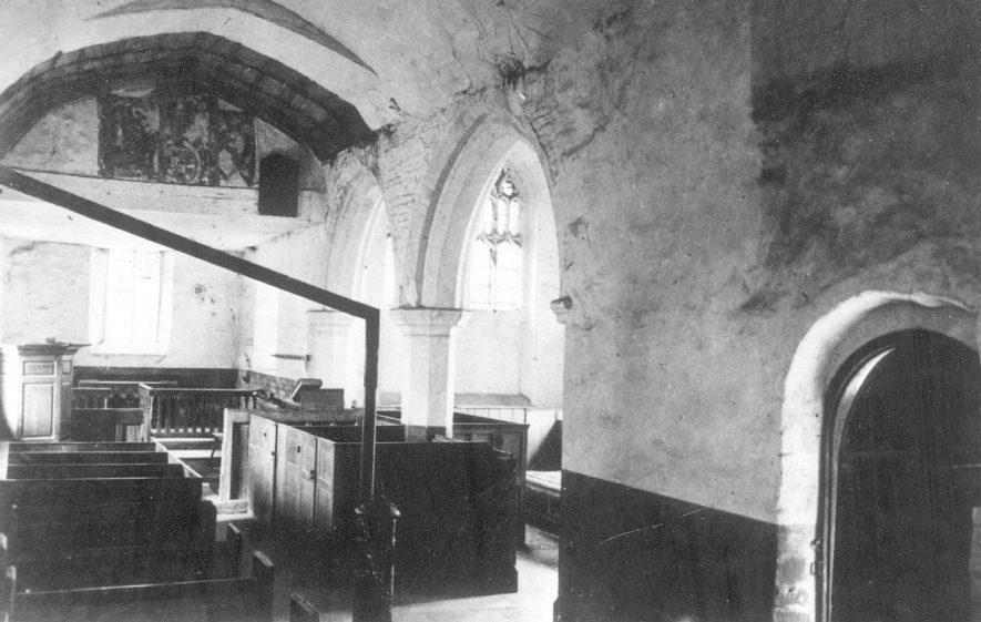 Interior of Wixford parish church.  1880    IMAGE LOCATION: (Warwickshire County Record Office)