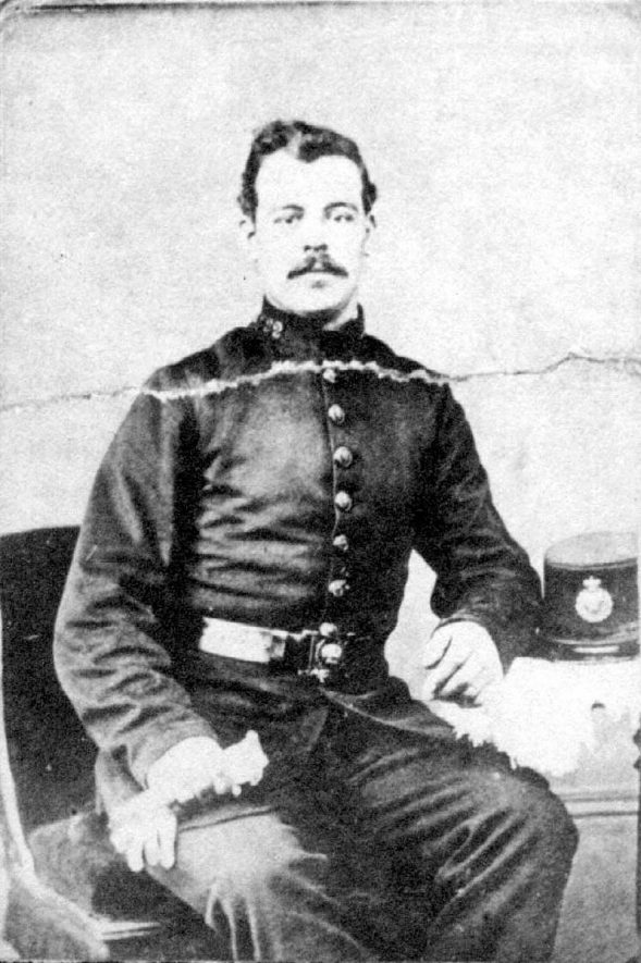 A studio photograph of Police Constable Hine who was murdered near Fenny Compton,  15 February 1886 |  IMAGE LOCATION: (Warwickshire County Record Office) PEOPLE IN PHOTO: Hine, Police Constable, Hine as a surname