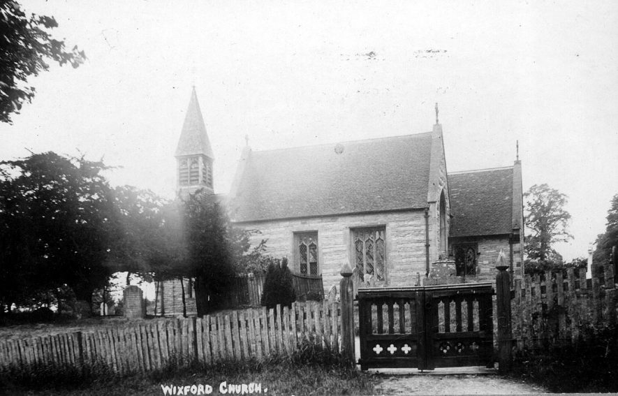 Exterior view of Wixford parish church.  1900s |  IMAGE LOCATION: (Warwickshire County Record Office)