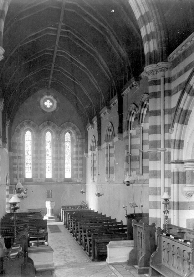 St Peter & Paul church interior, Winderton.  1930s. |  IMAGE LOCATION: (Warwickshire County Record Office)