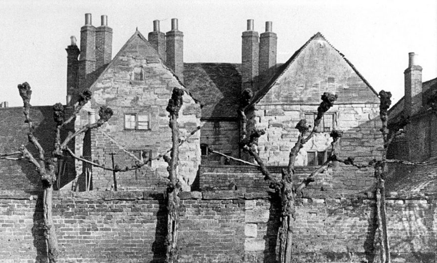Puckerings almshouses in Brook Street, Warwick, just prior to their demolition in 1950. |  IMAGE LOCATION: (Warwickshire County Record Office) IMAGE DATE: (c.1950)