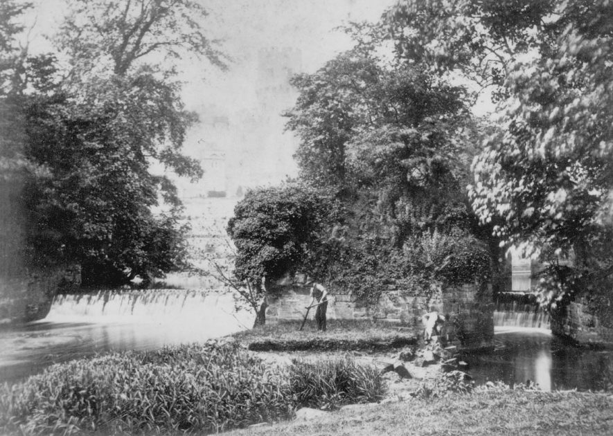 View of the castle & River Avon from the grounds of Park House, Warwick.  1880 |  IMAGE LOCATION: (Warwickshire County Record Office)