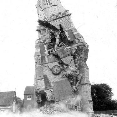 Warwick.  Demolition of church tower, All Saints, Emscote