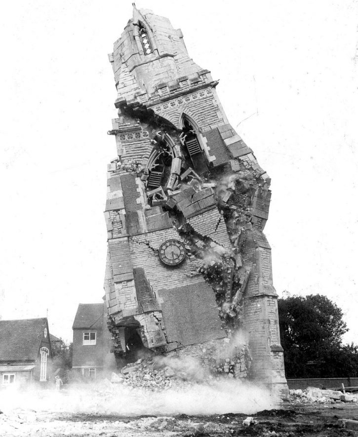 Demolition of tower of All Saint's Church, Emscote.  Warwick.  1967. |  IMAGE LOCATION: (Warwickshire County Record Office)