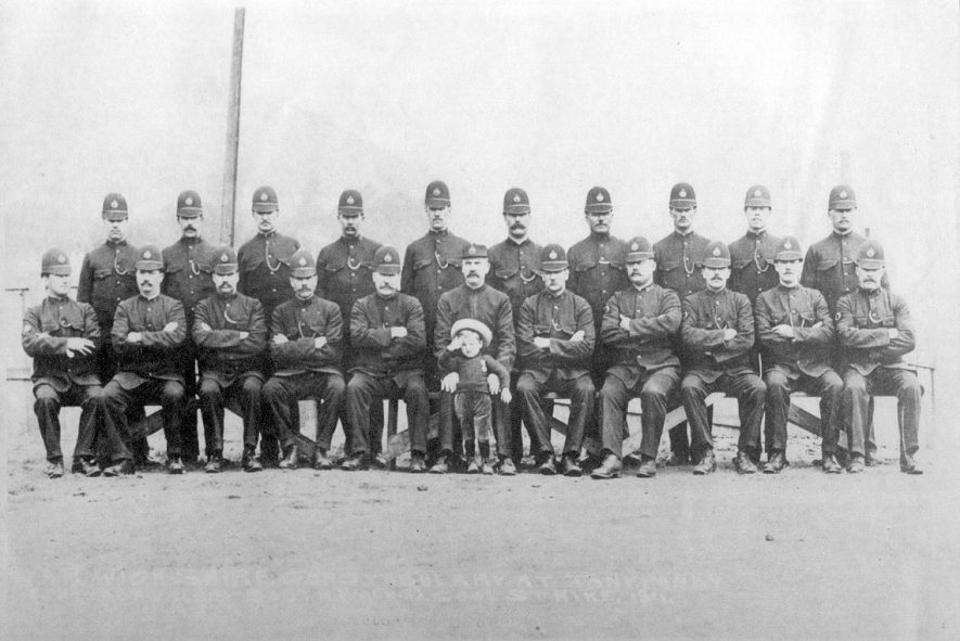 Warwickshire Constabulary at Tony Pandy ( Rhondda Valley, South Wales ) Coal Strike 1911.  Inspector Lee in charge |  IMAGE LOCATION: (Warwickshire County Record Office) PEOPLE IN PHOTO: Lee, Police Superintendent, Lee as a surname