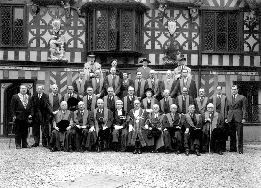 The Mayor and Town Council of Warwick in the courtyard of the Leycester Hospital |  IMAGE LOCATION: (Warwickshire County Record Office)