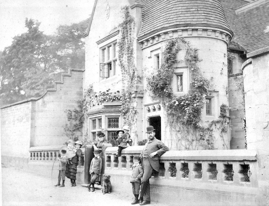 Mr Robert Greenfield, with his wife & family outside Garden Cottage, Priory Road, Warwick. 1890s. |  IMAGE LOCATION: (Warwickshire County Record Office) PEOPLE IN PHOTO: Greenfield, Mrs, Greenfield, Mr Robert, Greenfield as a surname