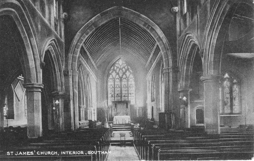 St James' Church, interior; looking towards the altar.  1910s |  IMAGE LOCATION: (Warwickshire County Record Office)