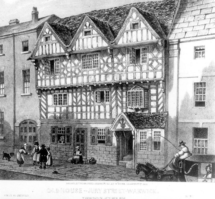 Old timbered house with group of people on the pavement in front, in Jury Street, Warwick. House was demolished in October 1832. |  IMAGE LOCATION: (Warwickshire County Record Office)