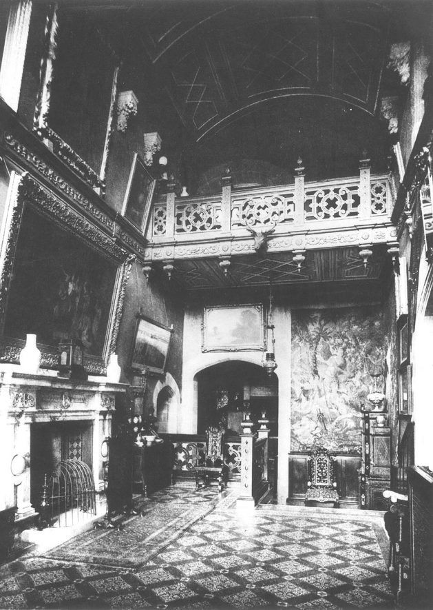 The inner hall, The Priory, Priory Park, Warwick. Circa 1900 |  IMAGE LOCATION: (Warwickshire County Record Office)
