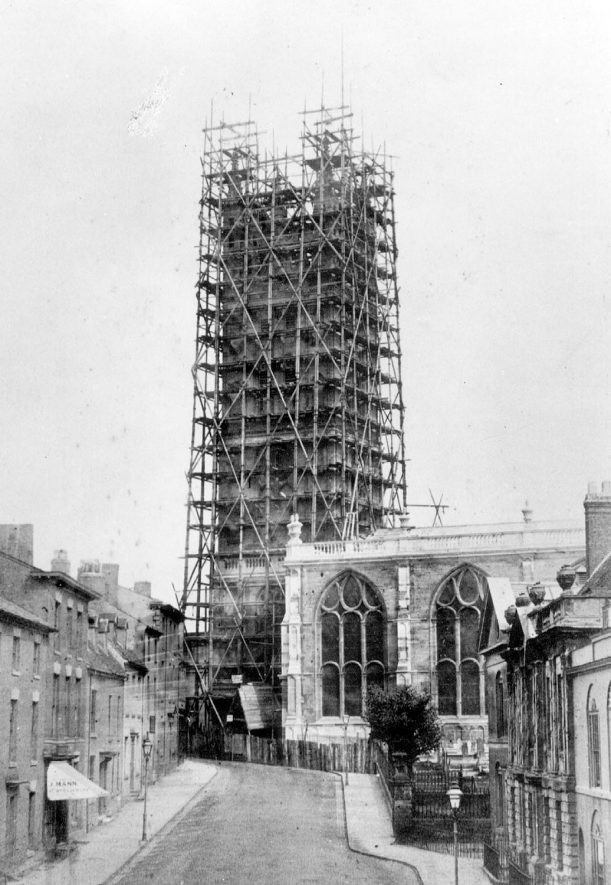St. Mary's church tower during restoration, Warwick.  1885 |  IMAGE LOCATION: (Warwickshire County Record Office)