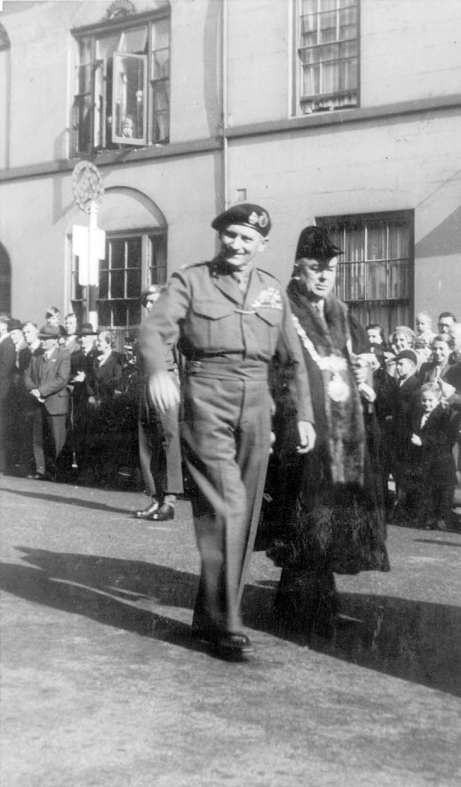 Field Marshall Montgomery during a visit to Warwick.  1940s |  IMAGE LOCATION: (Warwickshire County Record Office) PEOPLE IN PHOTO: Montgomery, Field Marshall, Montgomery as a surname