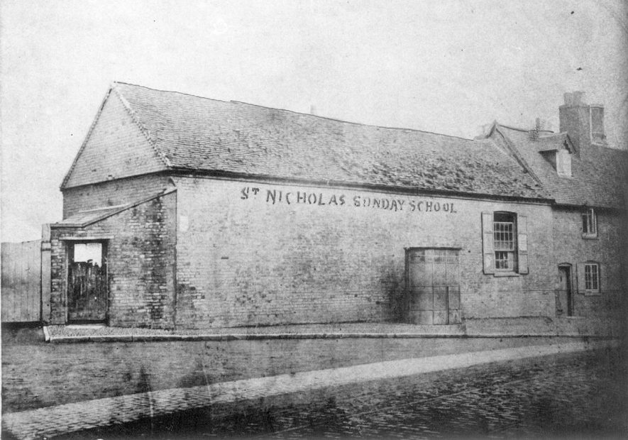 St. Nicholas Sunday school, formerly a tithe barn, St John's, Warwick.  1890s |  IMAGE LOCATION: (Warwickshire County Record Office)