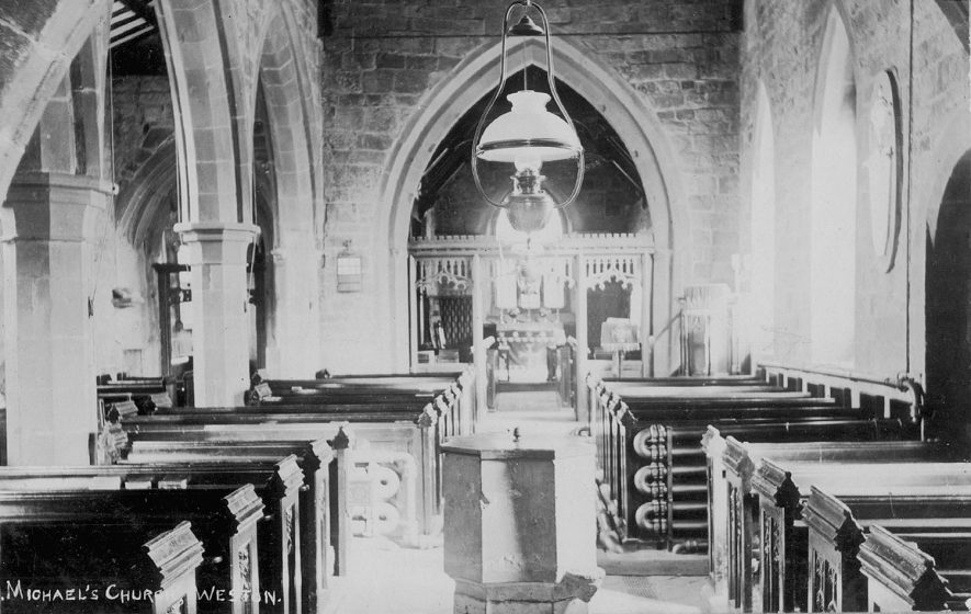 Interior of St Michael's church, Weston under Wetherley, looking east.  1920s |  IMAGE LOCATION: (Warwickshire County Record Office)