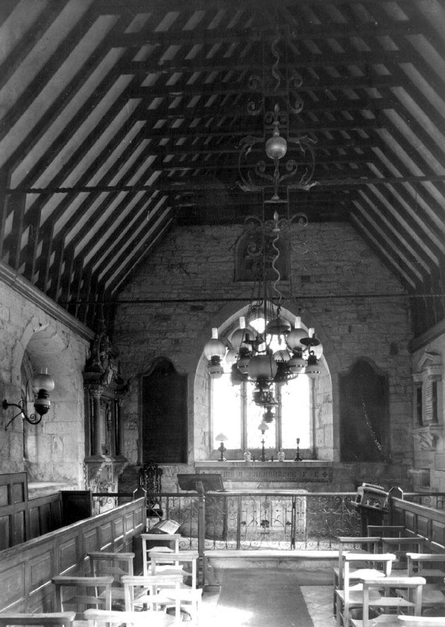 Interior of Old Church, Ullenhall.  1920s    IMAGE LOCATION: (Warwickshire County Record Office)