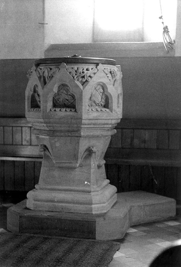 The font at Old Church, Ullenhall.  1920s |  IMAGE LOCATION: (Warwickshire County Record Office)
