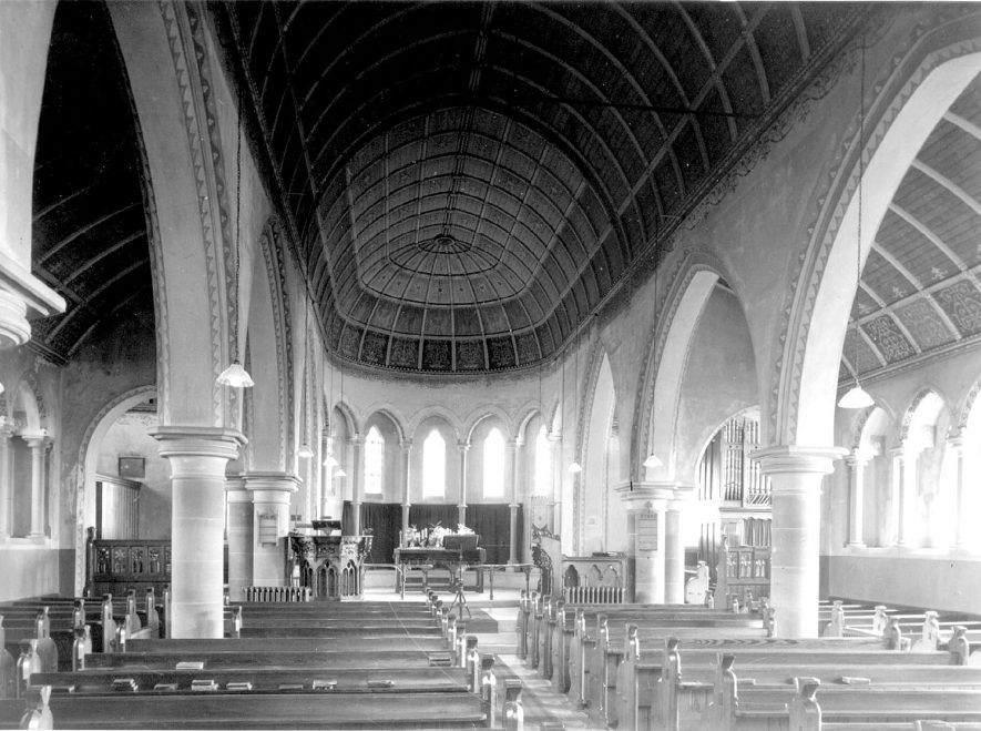 Interior of New Church, Ullenhall.  1920s    IMAGE LOCATION: (Warwickshire County Record Office)
