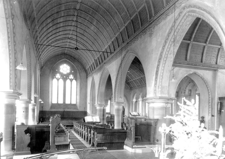 Interior of New Church, Ullenhall.  1920s |  IMAGE LOCATION: (Warwickshire County Record Office)