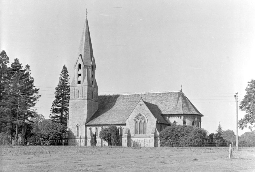 Exterior New Church, Ullenhall, view of  from the south.  1920s |  IMAGE LOCATION: (Warwickshire County Record Office)