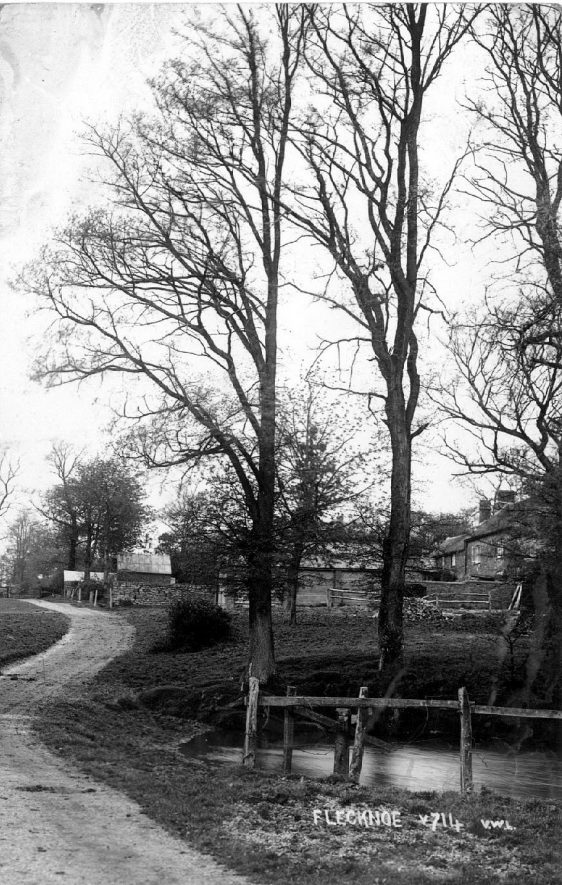 Pond by road, Flecknoe. Cottages seen through trees. 1930s. This is a scene in the middle of Flecknoe opposite the present Underwood Cottage and Flecknoe Farm looking up towards Hill View Farm.   The pond has been drained and the present house is sited just above the trees and is called the Gatehouse   ( Information  supplied by Mrs S. Thomas of Flecknoe) |  IMAGE LOCATION: (Warwickshire County Record Office)