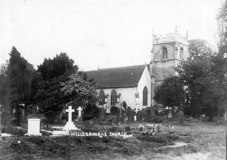 Exterior of St. Peter's Church, Wellesbourne.  1920s |  IMAGE LOCATION: (Warwickshire County Record Office)