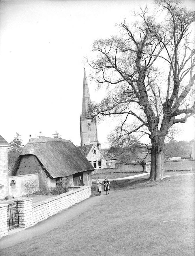 Parish Church exterior and thatched cottage or barn, Tredington.  1955 |  IMAGE LOCATION: (Warwickshire County Record Office)