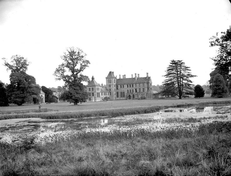 Walton Hall viewed over the lake formed from the River Dene. |  IMAGE LOCATION: (Warwickshire County Record Office)