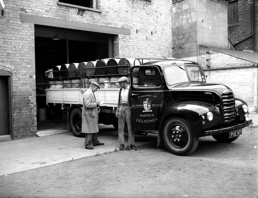 Nelson Dale Gelatine Factory (interior) Wharf Street, two men with lorry.  Warwick.  1959. |  IMAGE LOCATION: (Warwickshire County Record Office)