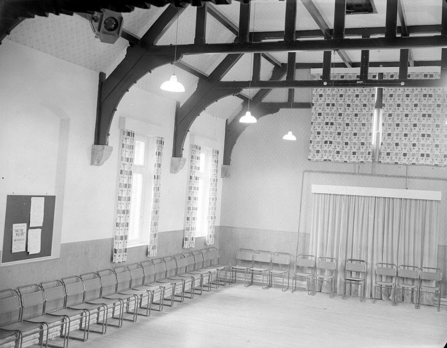 Village Hall interior.  Wolston.  1956. |  IMAGE LOCATION: (Warwickshire County Record Office)