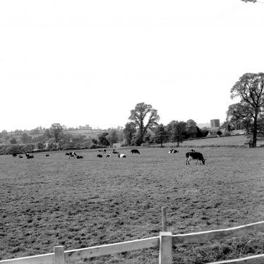 Barcheston.  View across meadows towards church