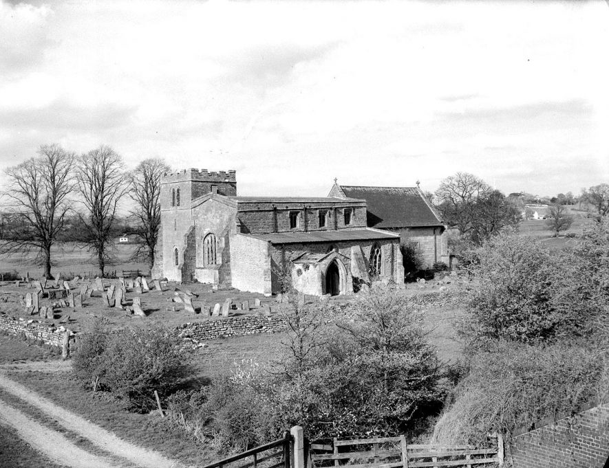 Wolfhampcote.  Exterior of church and graveyard |  IMAGE LOCATION: (Warwickshire County Record Office)