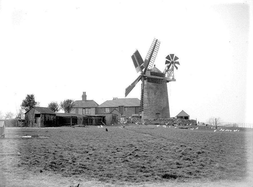 Nuneaton.  Tuttle Hill windmill and surrounding buildings |  IMAGE LOCATION: (Warwickshire County Record Office)