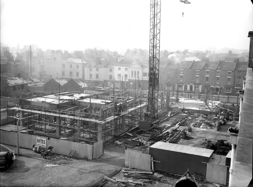 Leamington Spa.  New telephone exchange under construction in Windsor Street |  IMAGE LOCATION: (Warwickshire County Record Office)
