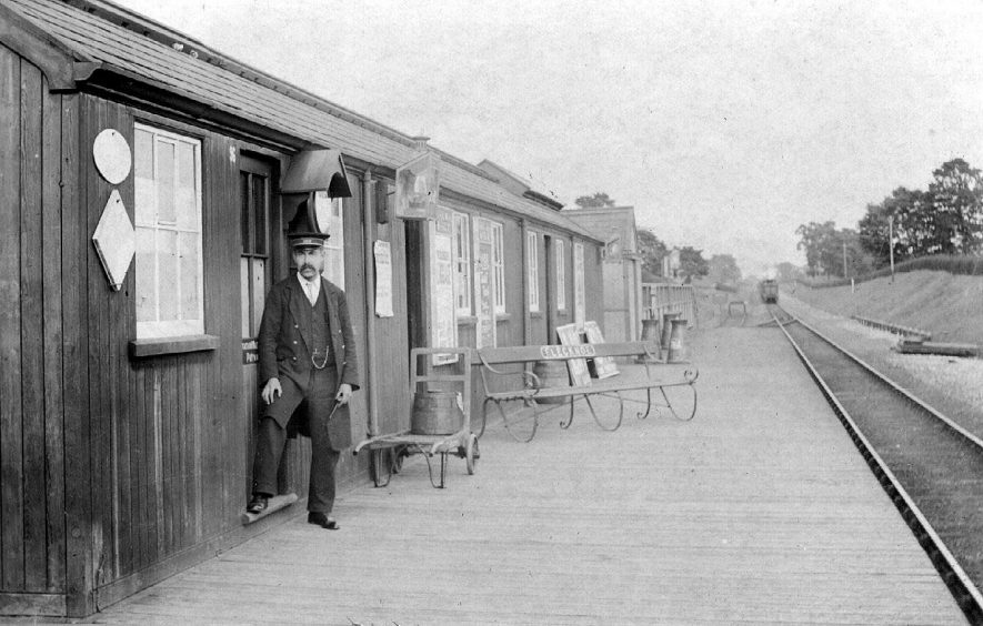 The Stationmaster, Mr. Trigger, at Flecknoe Station in the 1900s.  He lived at the Stationmaster's Cottage (Cottage No 4 today)   {Information supplied by Mrs S. Thomas of Flecknoe}. |  IMAGE LOCATION: (Warwickshire County Record Office) PEOPLE IN PHOTO: Trigger, Mr, Trigger as a surname