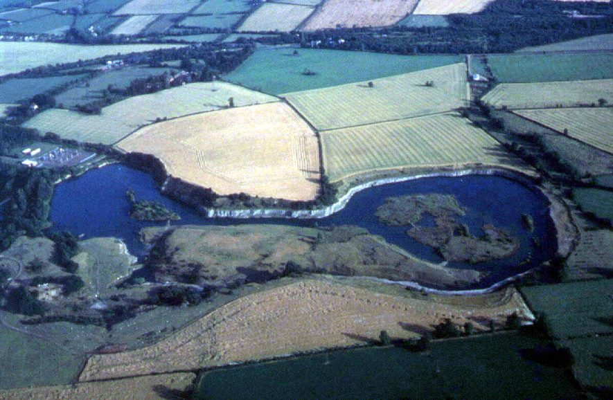 Former Blue Lias limestone quarries, now flooded.  1970s |  IMAGE LOCATION: (Warwickshire Museums. Geology)