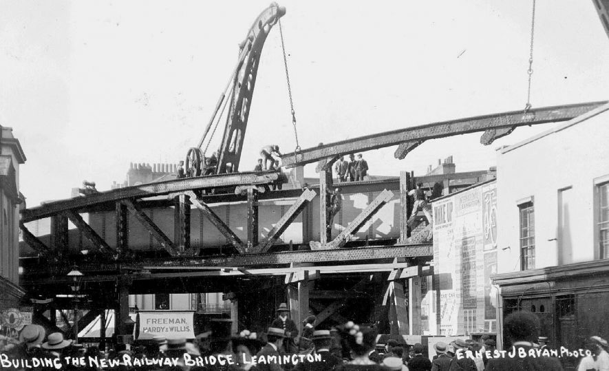 Erection of the railway bridge over the road at the bottom of Bath Street, in the 1920s,  the photograph is taken from Clemens Street, Leamington Spa.  1920s |  IMAGE LOCATION: (Warwickshire County Record Office)