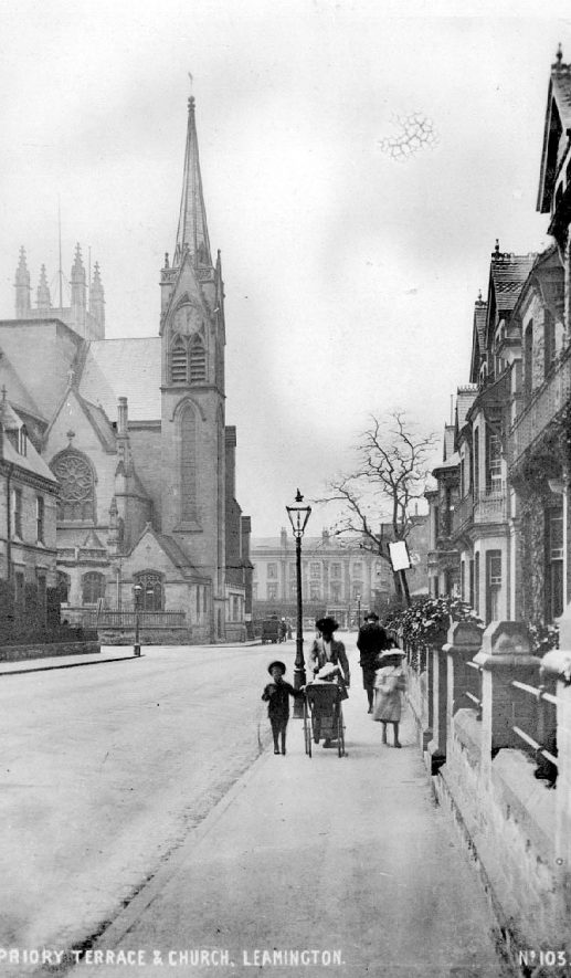 General view of Priory Terrace, looking towards All Saint's Church.  1900s |  IMAGE LOCATION: (Warwickshire County Record Office)