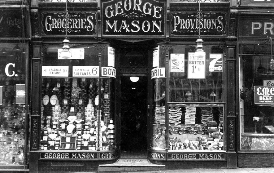 Shop front of George Mason, (grocer & provision merchant)  68, The Parade, Leamington Spa.  1920s    IMAGE LOCATION: (Warwickshire County Record Office)