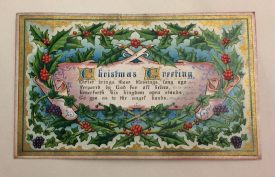 The Christmas card itself, with a poem expressing the religious sentiment of the occasion. | Warwickshire County Record Office reference CR4651/190
