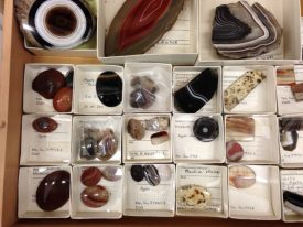 Agates from Warwickshire Museum's mineral collection. The agates are in individual card boxes. | Image courtesy of Warwickshire Museum
