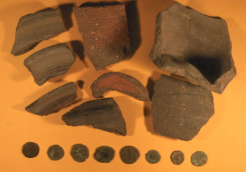 Roman pottery and coins from a site near Banbury Road Farm, Kineton | Warwickshire County Council