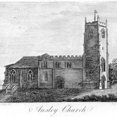 An engraving of the Church of St. Lawrence, Ansley | Warwickshire County Council